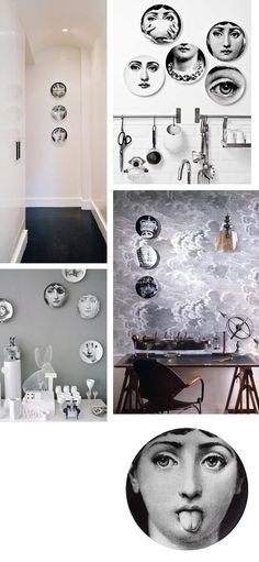 Fornasetti plates--hallway ideas