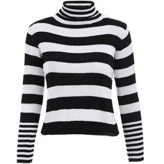 Black Stripe ONE SIZE Turtleneck Striped Color Block Sweater ($13) ❤ liked on Polyvore featuring tops and sweaters