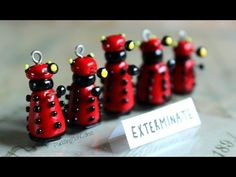 DIY: Dalek Miniature Doctor Who Polymer Clay Charm Stop Motion Tutorial - YouTube - lovely for a miniature Dr Who scene.