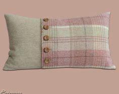 Subtle pink tweed cushions tartan style with wooden by Padooshka, £22.00