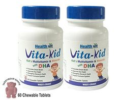 Healthvit VitaKids Multivitamin With Dha 60 Chewable Tablets Pack Of 2 ** Continue to the product at the image link. (This is an affiliate link) #BrainNutrition