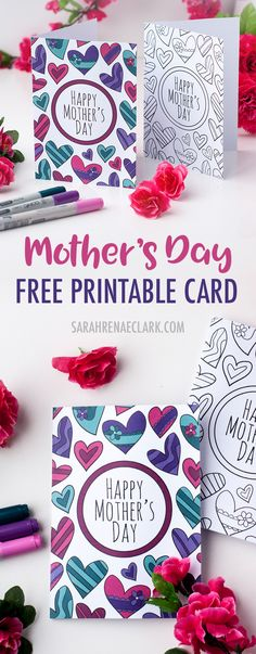 This free printable Mother's Day card is fun to color in and a great way to personalize your Mother's Day gift! This is a sample card from my pack of 8 coloring cards for Mother's Day | Find more Mother's Day printables and free coloring pages at https://