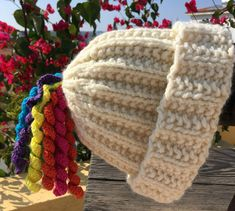 How to Knit a Unicorn Tail Hat Knitting pattern by Trailing Yarns Easy Crochet, Knit Crochet, Crochet Things, Christmas Hat, Christmas Crafts, Unicorn Tail, Knitting Patterns, Crochet Patterns, Crochet Unicorn
