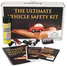 Your Ultimate Vehicle Safety Kit includes the following products:   • Auto Emergency Tool (1)  • Nap Alarm (1)  • 1/2 oz Pepper Spray with Visor Clip (1)   • 9 LED Flashlight (1)   • 1/2 oz. Pepper Spray with Keychain (1)   • Diversion Safe - Engine Degreaser Can (1)   • All batteries included   • Products Instructional Manual