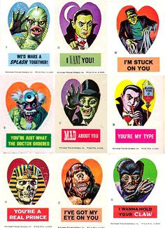 "spookychan: "" teratocybernetics: "" vintagegal: "" Vintage Valentines: Universal Horror Valentine stickers by Norman Saunders, 1966 (via) "" "" Vintage Valentine Cards, My Funny Valentine, Valentine Day Cards, Vintage Cards, Vintage Postcards, Arte Horror, Horror Art, Horror Films, Halloween Art"