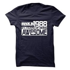 Made In 1988 - 27 Years Of Being Awesome ! - #tee times #cool t shirts for men. CHEAP PRICE => https://www.sunfrog.com/Birth-Years/Made-In-1988--27-Years-Of-Being-Awesome--10153865-Guys.html?id=60505