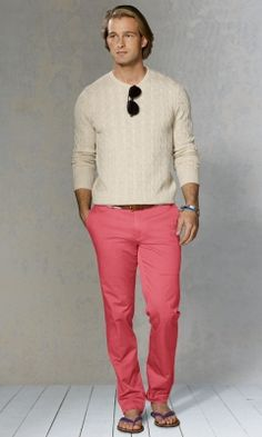 Casual coral comfort!!! Coral Pants, Spring Fashion Casual, Dark Blue, Summer Outfits, Normcore, Ralph Lauren, Spring Summer, Mens Fashion, How To Wear