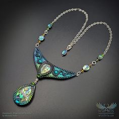 *Aquatica* - An Iridescent, Magical Abalone Shell Art Necklace - wizArts Art Necklaces, Resin Charms, Polymer Clay Pendant, Shell Art, Abalone Shell, Sterling Silver Chains, Wearable Art, Iridescent, Jewelry Art