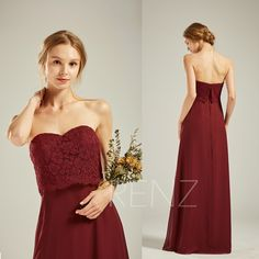 Bridesmaid Dress Maroon Chiffon Wedding Dress Lace Fitted Prom Dress Long Sweetheart Strapless Party Dress Open Back Formal Grad Dresses Long, Fitted Prom Dresses, Long Wedding Dresses, Dress Long, Formal Dress, Champagne Bridesmaid Dresses, Strapless Party Dress, Wine Dress, Open Back Wedding Dress