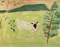 Lamb Resting - Milton Avery, 1953. American, 1885-1965 mixed media on rice paper , 17.76 x 23.39 in. 45.1 x 59.4 cm.