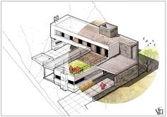Architectural Flow: Surrealist Home Illustrations By Neyra Architecture Site Plan, Architecture Concept Drawings, Architecture Presentation Board, Architecture Sketchbook, Architecture Illustrations, Pavilion Architecture, Classical Architecture, Isometric Drawing, Building Sketch