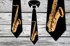 Saxophone tie Necktie Tie FREE SHIPPING by elcomdesign on Etsy