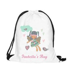 Personalized fairy bag, Personalised drawstring bag, dance bag, swimming bag, school bag by cjcprint on Etsy