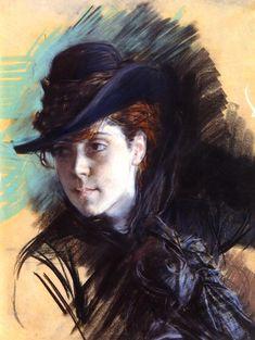 Ritratto una ragazza con un cappello nero di Giovanni Boldini