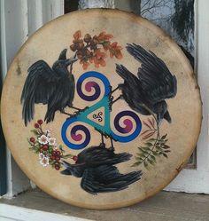 Raven Celtic Triskele Pagan Handpainted Original Bodhran Drum,  Brigid Ashwood Fine Art Prints