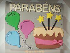 Painel de aniversariantes para sala de aula. 😍😍 Lindo lindo lindo. ❤️❤️ #artesanato #painel #aniversario #parabens #decoração #minhascoisinhas #saladeaula #alunos #bolo #bexigas #fofo #amoamoamo