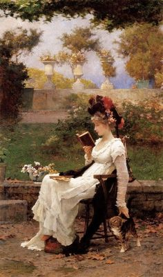 """""""Reading Outdoors with Dog"""" - painting of woman reading by Marcus Stone (British painter, 1840-1921)."""