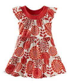Coral Surf Floral Twirl Dress - Girls #zulily #tea #ad *cute
