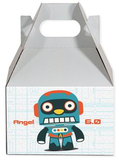 World of Pinatas - Robot 3.0 Personalized Gable Box (set of 6), $11.99 (http://www.worldofpinatas.com/robot-3-0-personalized-gable-box-set-of-6/)