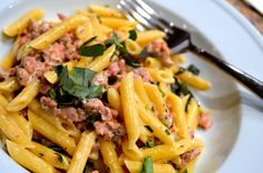 Pasta with Sausage, Basil & Mustard- the perfect weeknight meal!