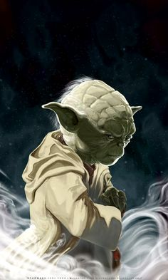 UNSHEATHED-a portrait of Yoda by ~HOON
