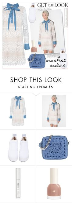 """""""crochet"""" by paculi ❤ liked on Polyvore featuring Windsor Smith, Borsetteria Napoli 1985, Bobbi Brown Cosmetics, GetTheLook, white, Blue, crochet and spring2016"""