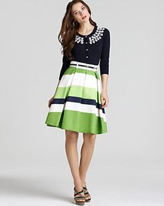 """kate spade new york """"Kati"""" Embellished Pima Cotton Cardigan and """"Lillith"""" Silk/Cotton Striped Skirt $295 and $325. Bloomingdale's."""
