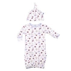 Kickee Pants Natural Farm Layette Gown and Knot Hat Set