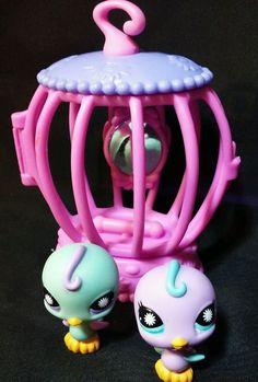 Littlest Pet Shop Happiest Birds PARAKEET pairs lps 930 931 Birdcage hasbro  #Hasbro