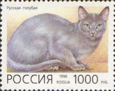 Russian Blue on Russian Stamp