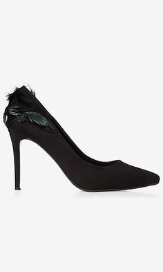 feather embellished faux suede pump