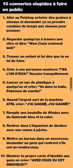 10 conneries stupides à faire en public 10 stupid stupid things to do in public - Rage, Funny Messages, Text Messages, Funny Love, Super Funny, Funny Comics, Funny Photos, Funny Texts, Stupid
