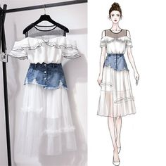 Ruffled Shoulder T-shirt + Denim Skirt Set – orchidmetus Teen Fashion Outfits, Mode Outfits, Korean Outfits, Cute Fashion, Girl Outfits, Fashion Drawing Dresses, Fashion Illustration Dresses, Fashion Dresses, Fashion Design Drawings