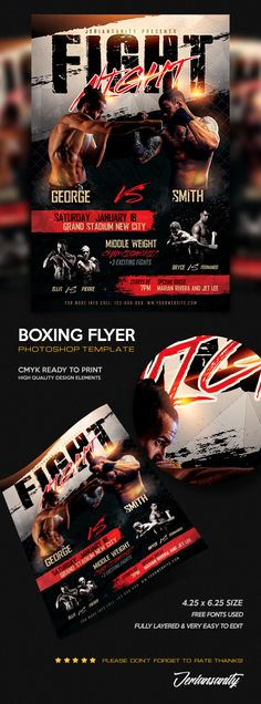 Boxing MMA Flyer #Photoshop #Design #Flyer #Template #boxing #MMA #UFC