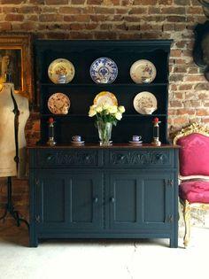 Antique Welsh Dresser Solid Oak Shabby Chic Black Display Cabinet Gothic