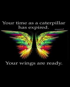 """Your time as a caterpillar has expired. Your wings are ready,"" — Anonymous"