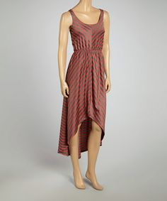 Loving this Rust & Charcoal Stripe Hi-Low Dress on #zulily! #zulilyfinds