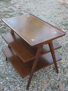 Vtg. Mid-Century 3-Tier Side Table Danish Modern
