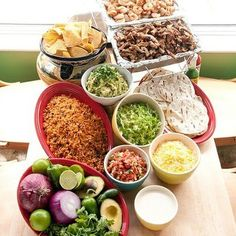 Make Your Own Taco Bar if vegan use vegan ground crumbles in place of meat