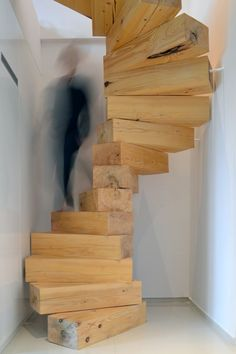 Spiral staircase made from chunky-wooden blocks by Studio QC