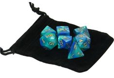 New Chessex Polyhedral Dice Set with Bag Blue Teal Gemini 7 Piece Set DnD RPG #Chessex