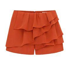 Orange Cascading Ruffle Zipper Chiffon Shorts