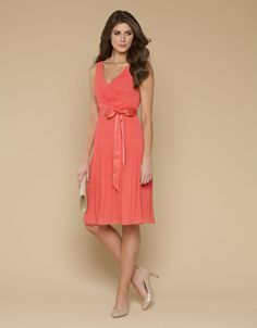 Buy Day Dresses - Ville Coral Pleat Dress (Pink) | Monsoon
