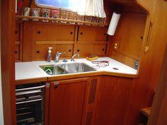 sailboat's interior - sliding cupboard doors