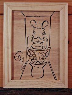 Touchons du bois, ça porte bonheur: Plaque de porte Lapin Crétin