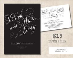 PDF black and white party invite. Can print at home! awesome