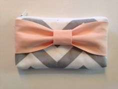 Back to School , Pencil Case , Cosmetic Bag , Travel Pouch , Grey & White Chevron with Peach Bow, Flower Girl Clutches on Etsy, $15.00