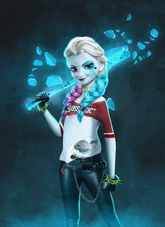 Harley Quinn meets 'Frozen' in this surprisingly effective fan art mashup » created by, BossLogic