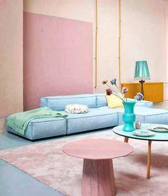 tons pastel - rosa e aul bebê - paleta de cores - cor suave - cores neutras nas paredes