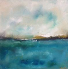 Green Blue Ocean Seascape Painting Original Art - Coastal Blues 20 x 20